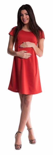 Tehotenské šaty - tehlové-S (36)