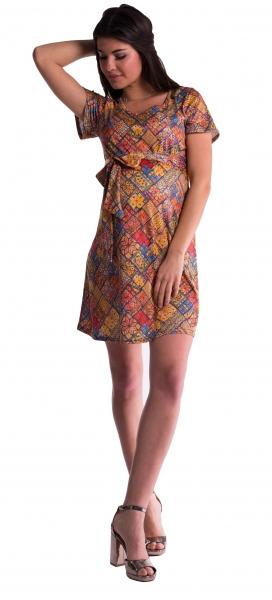 Tehotenské šaty s kvetinovou potlačou s mašľou - tehlový