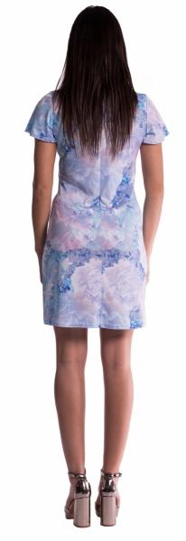 Tehotenské šaty s kvetinovou potlačou s mašľou - červené