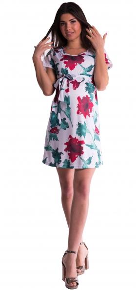 Be MaaMaa Tehotenské šaty s kvetinovou potlačou s mašľou - červené