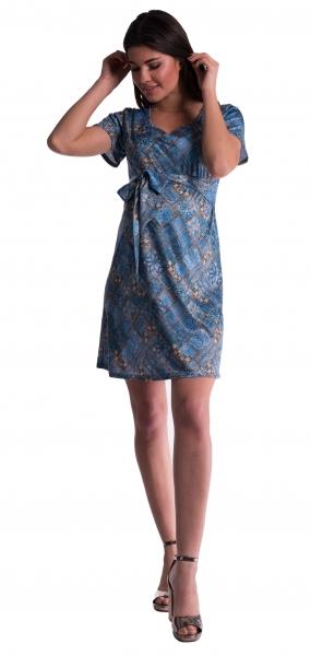 Be MaaMaa Tehotenské šaty s kvetinovou potlačou s mašľou - tm. modré