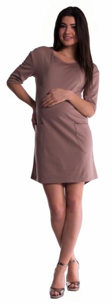 Be MaaMaa Tehotenské a dojčiace šaty - béžové-L (40)
