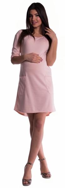 Tehotenské a dojčiace šaty - púdrovo ružové veľ.M