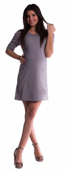 Tehotenské a dojčiace šaty - sivé-M (38)