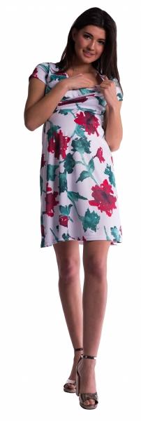 Tehotenské a dojčiace šaty - červené kvety