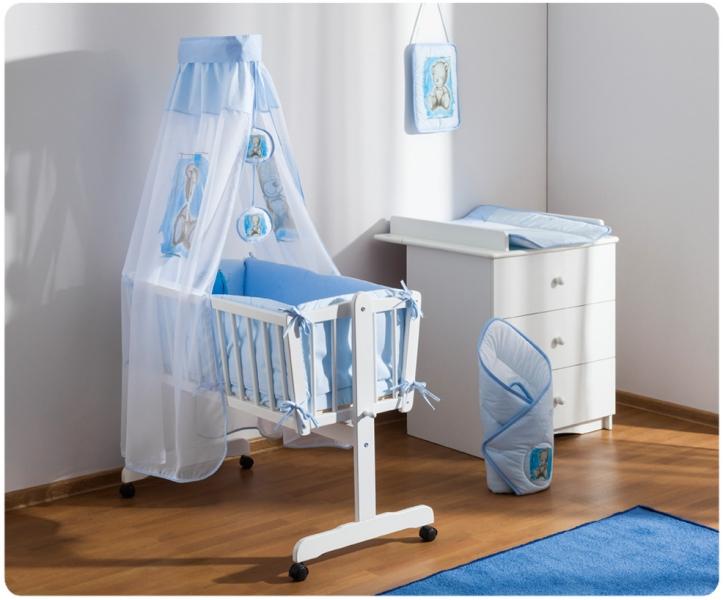 Baby Nellys Drevená kolíska s plnou výbavou Sweet Dreams by Teddy - modrá