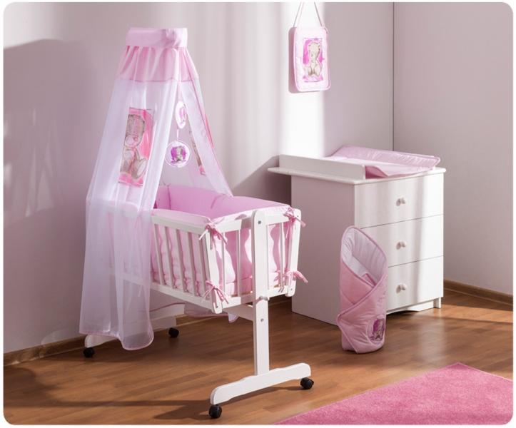 Baby Nellys Drevená kolíska s plnou výbavou Sweet Dreams by Teddy - růžová
