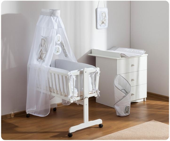 Baby Nellys Drevená kolíska s plnou výbavou Sweet Dreams by Teddy - sivá