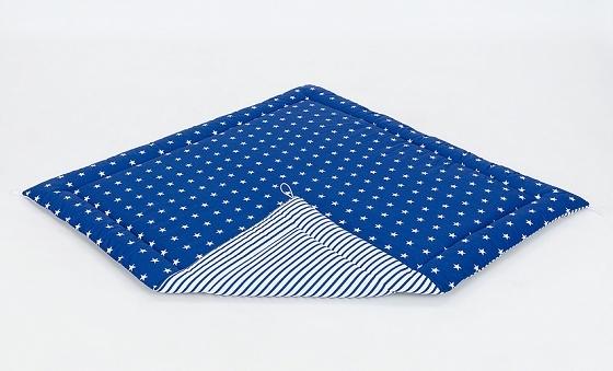 Hracia, prebaľovacia podložka 120x120cm - granátová/hviezdičky biele-prúžky granátové