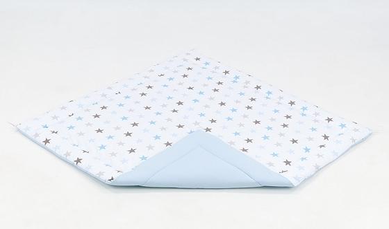 Hracia, prebaľovacia podložka 120x120cm - biela/hviezdičky sivé, modré-sv. modrá