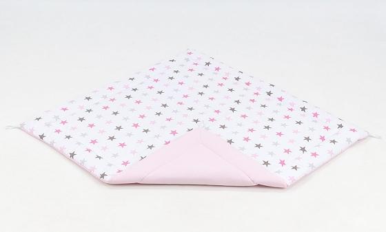 Hracia, prebaľovacia podložka 120x120cm - biela/hviezdičky šedé, ružové-sv. ružová