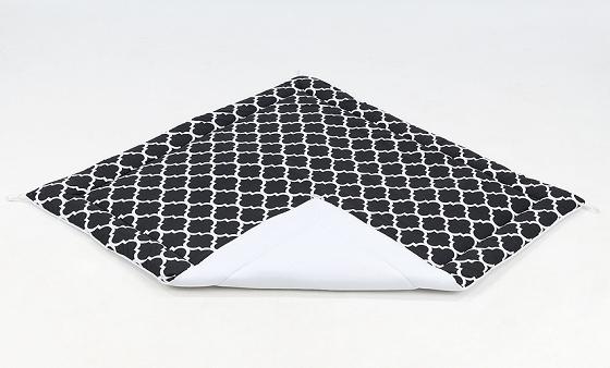 Hracia, prebaľovacia podložka 120x120cm - čierna/ornamenty-biela