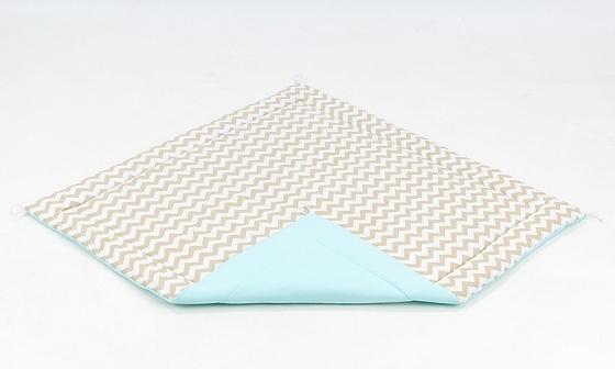 Hracia, prebaľovacia podložka 120x120cm - biela/zigzag béžový-tyrkysová