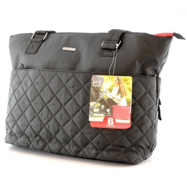 Prebaľovacia taška ku kočíku - čierna/červený zips