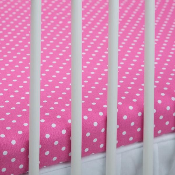 Bavlnené prestieradlo -tm. ružové/biele bodky. Kod: 1370-411