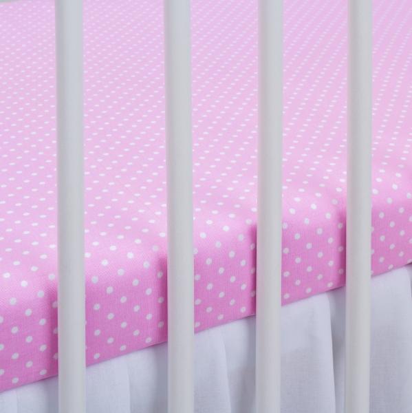 Bavlnené prestieradlo - sv. ružové/biele bodky. Kod: 1370-440