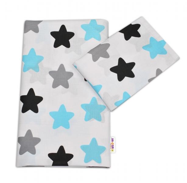 Bavlnené obliečky - Farebné hvezdičky - modré