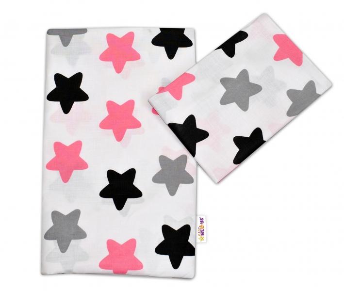 Bavlnené obliečky 135x100 - Farebné hvezdičky - ružové