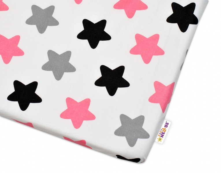 Bavlnené prestieradlo - Farebné hvezdičky - ružové