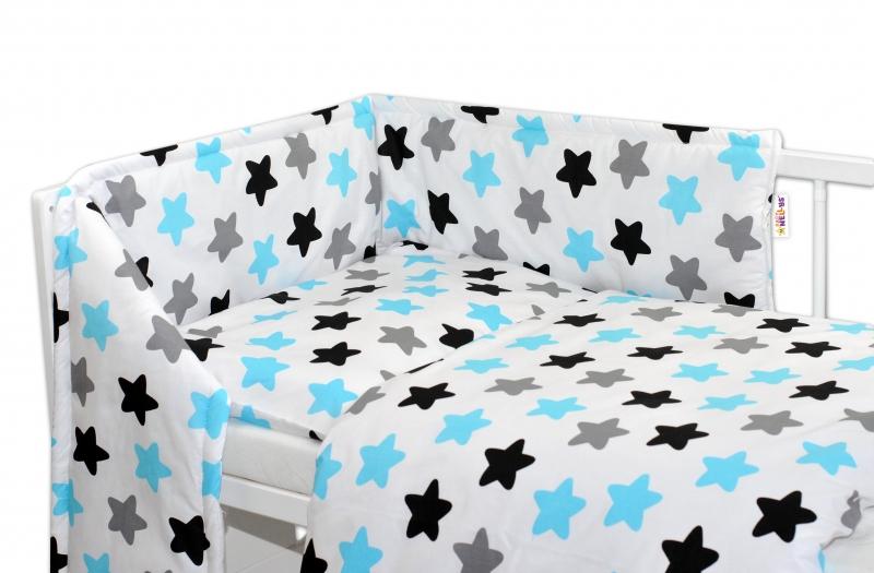 Mantinel s obliečkami - Farebné hvezdičky - modré 135x100