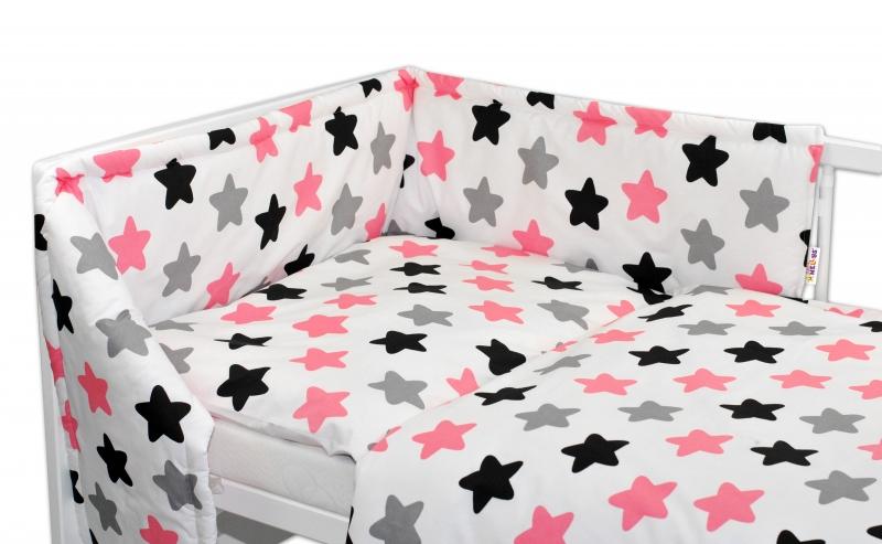 Mantinel s obliečkami - Farebné hvezdičky - ružové