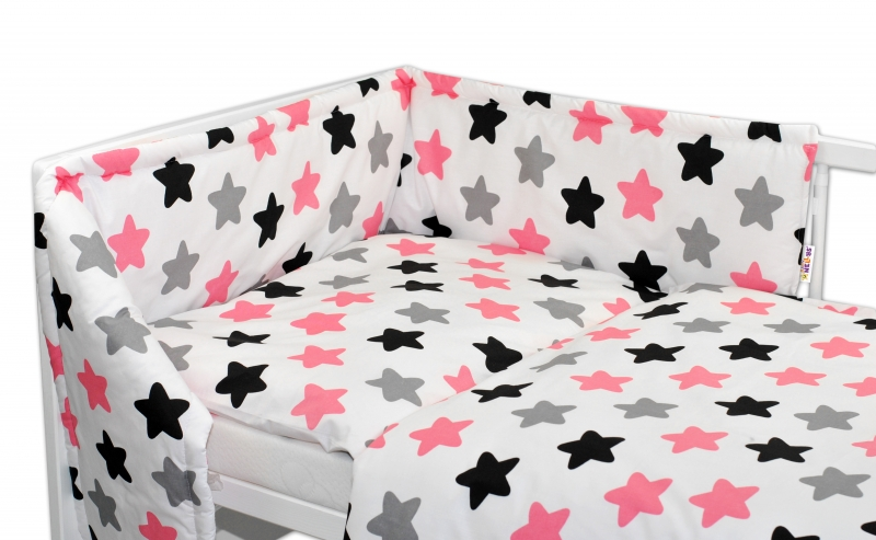 Baby Nellys Mantinel s obliečkami 135x100 - Farebné hvezdičky - ružové