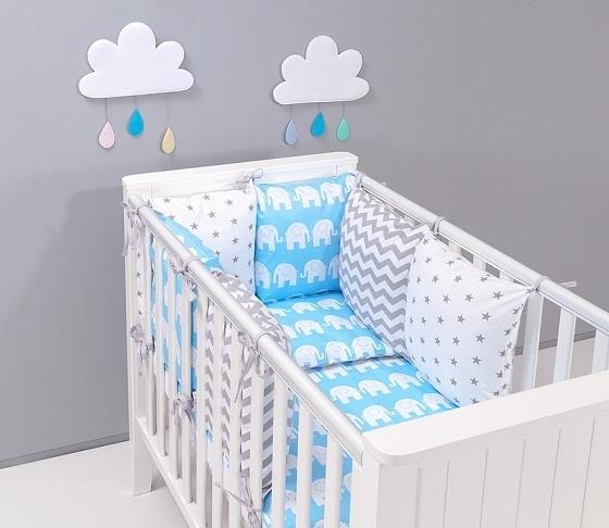 Mantinel s obliečkami Baby Nellys ® - vankúšikový mantinel vzor č. 15-120x90