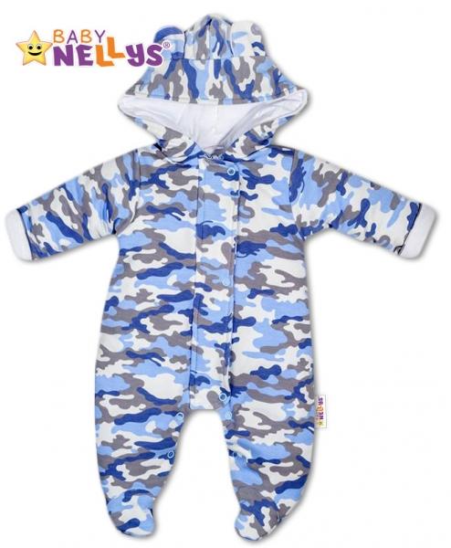 Kombinézka s kapucňu a uškami ARMY Baby Nellys ® sivá, veľ. 68