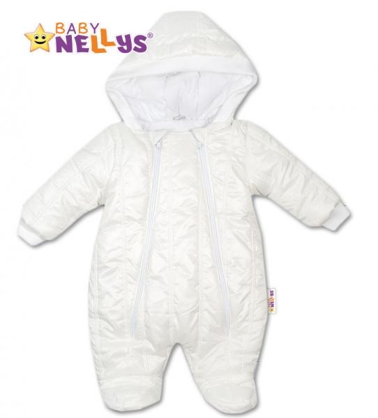 Kombinézka s kapucňu Lux Baby Nellys ®prešívaná - biela, veľ. 56