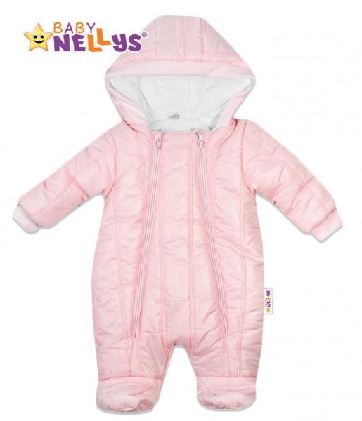 Kombinézka s kapucňu Lux Baby Nellys ®prošívaná - sv. růžová