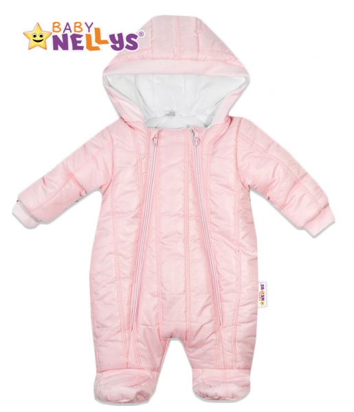 Kombinézka s kapucňu Lux Baby Nellys ®prošívaná - sv. růžová, veľ. 62-62 (2-3m)