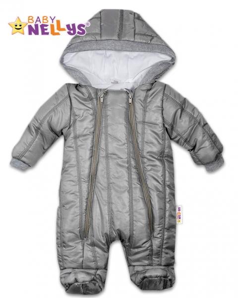 Kombinézka s kapucňu Lux Baby Nellys ®prošívaná - sivý, veľ. 74-74 (6-9m)