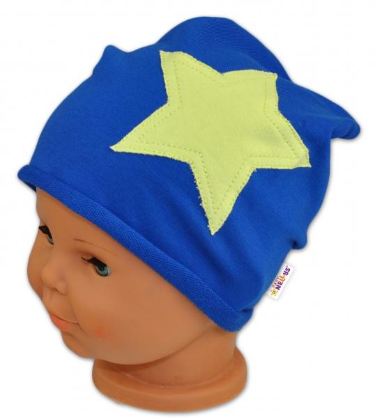 Bavlnená čiapočka s hviezdou Baby Nellys ® - tm. modrá-#Velikost koj. oblečení;44/48 čepičky obvod