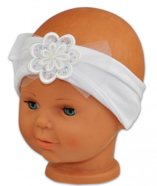 Čelenka Baby Nellys ® s kvetinkou a flitrami - biela