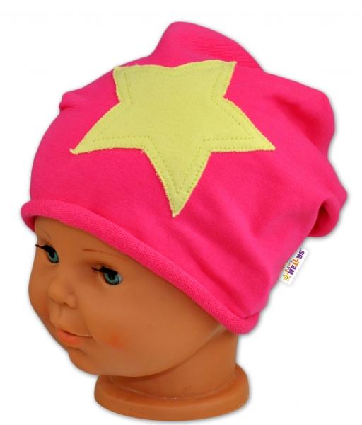 Bavlnená čiapočka s hviezdou Baby Nellys ® - malinová-50/52 čepičky obvod