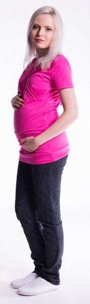 Tehotenské a dojčiace tričko s kapucňou, kr. rukáv - amarant, L/XL
