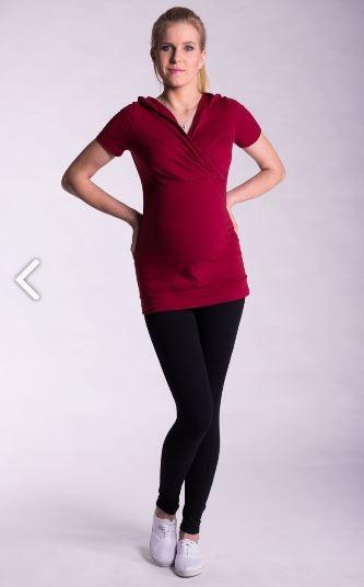Tehotenské a dojčiace tričko s kapucňou, kr. rukáv - bordo, L/XL