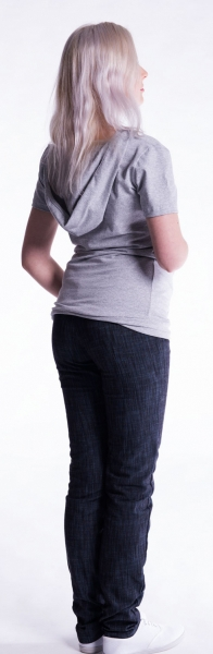 Tehotenské a dojčiace tričko s kapucňou, kr. rukáv - jeans