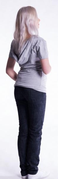 Tehotenské a dojčiace tričko s kapucňou, kr. rukáv - sivý melír