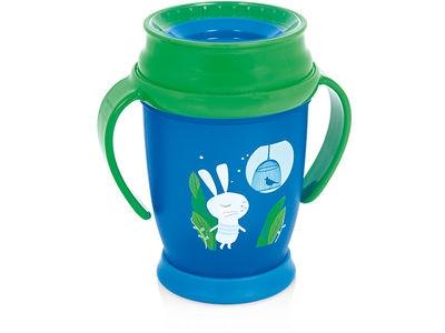 Lovi Kúzelný hrnček 360 ° LOVI 12+, modro/zelený - Zajačik, 250ml
