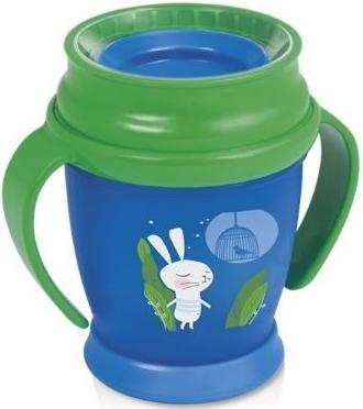 Kúzelný hrnček 360 ° LOVI 9+, modro/zelený - Zajačik, 210ml