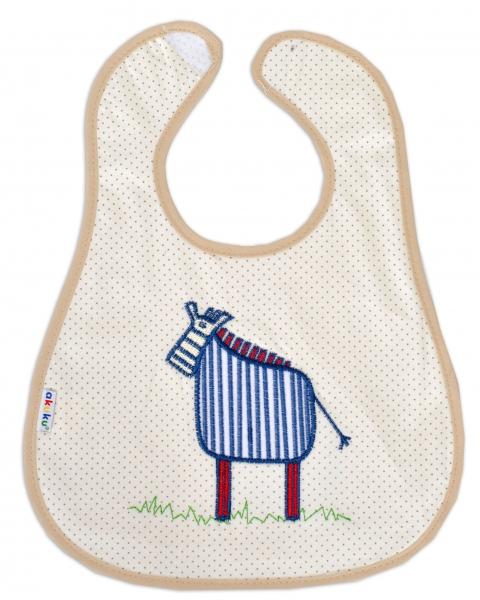 Podbradník s výšivkou Akuku - Zebra - béžová/béžový lem