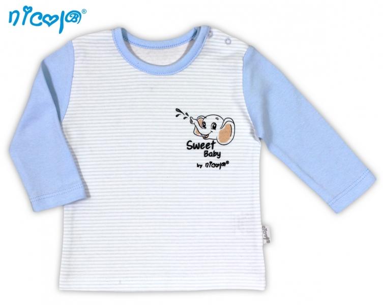 Dojčenské bavlnené tričko NICOL VESELÝ SLONÍK - dlhý rukáv