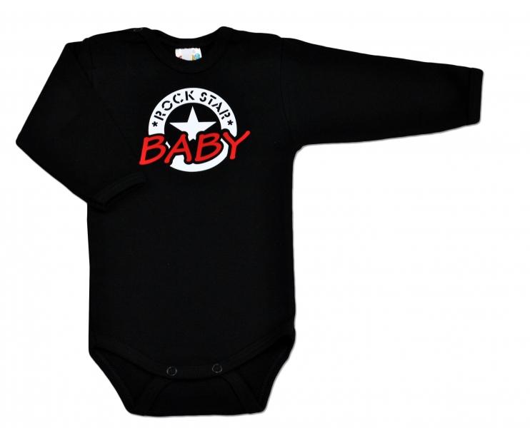 DEJNA Body ROCK STAR BABY dl. rukáv - čierne, veľ. 86