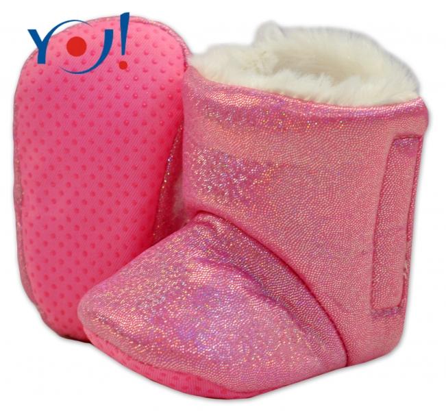 Zimné topánky/šľapky s kožušinou YO! -lesklé-ružové-12/18měsíců