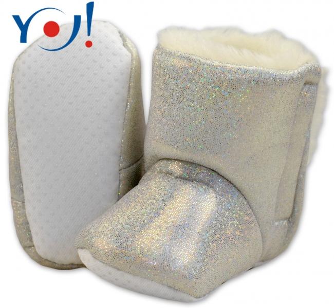 Zimné topánky/šľapky s kožušinou YO! -lesklé-bielé-12/18měsíců