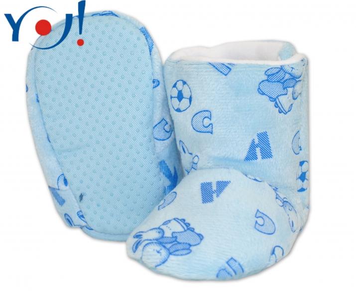 Zimné topánky/Šľapky fleece YO! - sv. modré-12/18měsíců
