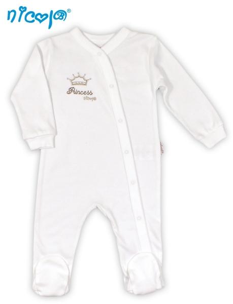 BIO dojčenský bavlnený overálek NICOL PRINCEZNA - korunka, 52