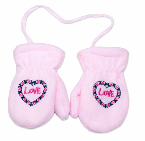 YO !  Zimné dojčenské polarové rukavice YO - sv. ružové