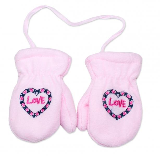 YO !  Zimné dojčenské polarové rukavice YO - sv. ružové, veľ. 13-14 cm